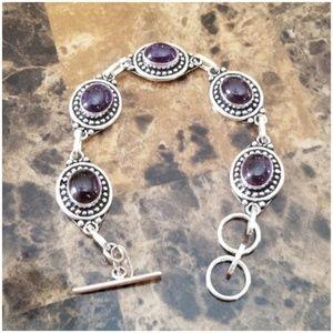 """Jewelry - Deep Purple Amerhyst Cabochons Bracelet 8.5"""""""